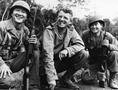 "Brig. General Frank Merrill, Commander of ""Merrill's Marauders"" in Burma, poses between his Japanese American interpreters, T/Sgt. Herbert Miyasaki of Paaulie, Hawaii and T/Sgt. Akiji Yoshimura of Colusa, Calif. May 1, 1944. Courtesy National Archives. On view in the former traveling exhibition ""American Heroes:  Japanese American World War II Nisei Soldiers and the Congressional Gold Medal."" The medal itself now resides @Smithsonian's National Museum of American History. #heroes  #nisei"