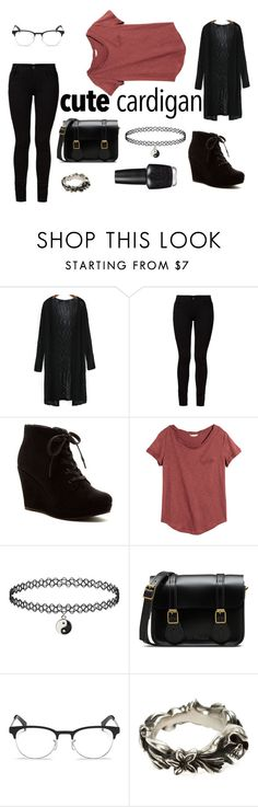 """CuteCardigan"" by whatpandas on Polyvore featuring Barbara I Gongini, Rampage, H&M, Dr. Martens, Ray-Ban, Werkstatt:München, OPI and awesome"