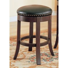 Walnut 24-Inch Swivel Bar Stool with Upholstered Seat