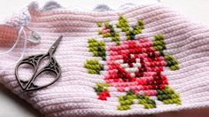 @ Porcupine Design - crochet  cross stitch cushion cover - inspired by Jane Crowfoot's 'Homespun Vintage'