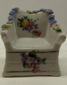 Vintage Elfinware Arm Chair Miniature Forget Me Nots Porcelain Moss Germany