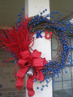 University of Kansas KU Football Door Wreath by HanginPretty