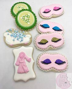 """June Bug & Moo on Instagram: """"Spa party cookies! #junebugandmoo #decoratedcookies #sugarcookies #customcookies #spacookies #spaparty #austincookies #atxcookies"""""""