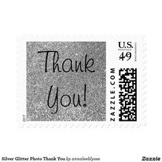 Silver Glitter Photo Thank You Postage