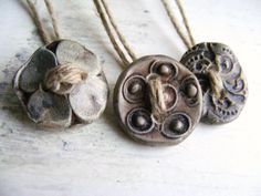 3 Artisan Individual Buttons  handmade burnished by greybirdstudio, $25.00