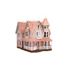 Greenleaf Garfield Dollhouse Kit 1 Inch Scale (975 BRL) ❤ liked on Polyvore featuring objects, filler, house, interior and pink
