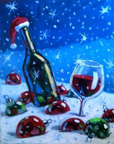 Christmas Canvas Painting Ideas For Beginners by Timothy Vasquez Wine Painting, Easy Canvas Painting, Simple Acrylic Paintings, Diy Paintings On Canvas, Christmas Paintings On Canvas, Wine And Canvas, Noel Christmas, Xmas, Christmas Ornament