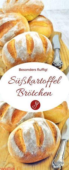 Brot Rezepte, Brötchen Rezepte: Rezept für Süßkartoffelbrötchen. Ganz einfach zu backen und superfluffig. #brot #brötchen #rezept #herzelieb #süßkartoffel