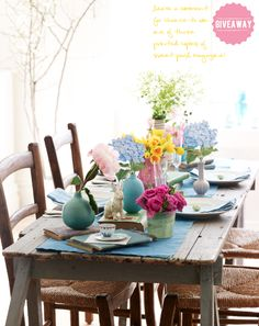 Pretty tablescape full of spring blooms via @Sweet Paul Magazine, spring 2012