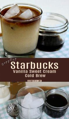 cold brew coffee This Copycat Vanilla Sweet Cream Cold Brew Recipe is simple to make and even easier to enjoy! I love being able to have a glass whenever I like! Starbucks Sweet Cream, Starbucks Vanilla, Starbucks Drinks, Cold Brew Coffee Recipe Starbucks, Vanilla Syrup For Coffee, Homemade Cold Brew Coffee, Homemade Coffee Creamer, Healthy Starbucks, Starbucks Recipes