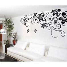 Decal Dzine Giant Floral Vine And Butterflies