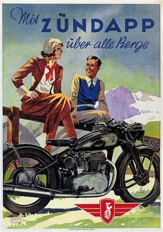Vintage Zundapp motorcycle advertisement - 1938