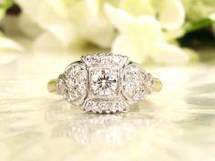 Art Deco Engagement Ring 0.69ctw Diamond by LadyRoseVintageJewel