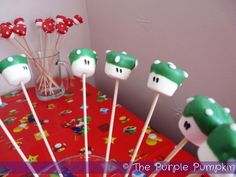 Mario bros toad marshmallow pops!
