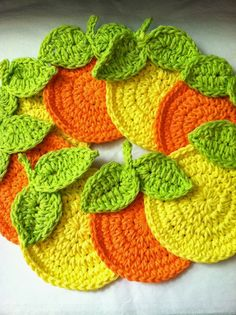"""Oranges"" Crochet Coaster Set: #free #crochet #pattern"