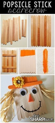 10 Easy Thanksgiving Crafts Ideas for Kids and Adults Create this simple fall DIY popsicle stick scarecrow for a super cute fall craft for kids! This popsicle stick scarecrow makes a festive refrigerator magnet Craft Stick Crafts, Crafts To Do, Easy Crafts, Wood Crafts, Craft Sticks, Paper Crafts, Daycare Crafts, Toddler Crafts, Children Crafts