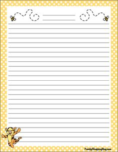 Printable Winnie the Pooh Stationery.possibly for wet weather ideas or for a Term Program with smaller girls Printable Lined Paper, Free Printable Stationery, Disney Writing, Write My Paper, Memo Notepad, Stationery Paper, Planner Pages, Note Paper, Paper Decorations