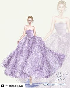 shining who wears dress characterized by a play of shades with feathers, for the 🍂🥀🍂 Dress Design Drawing, Dress Design Sketches, Fashion Design Sketchbook, Fashion Design Drawings, Fashion Sketches, Gown Drawing, Fashion Illustration Tutorial, Dress Illustration, Fashion Illustration Dresses