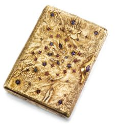 A FABERGÉ SILVER-GILT SAMORODOK CIGARETTE CASE, ST PETERSBURG, 1908-1917 rectangular with rounded sides, the lid pierced and set with sapphires, rubies, emeralds, and rose-cut diamonds, cabochon sapphire thumbpiece, struck K. Fabergé in Cyrillic beneath the Imperial Warrant, 84 standard, maker's mark obscured width 10cm, 4in.
