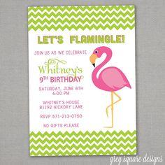 Chevron Flamingo Birthday Party Invitation by greysquare on Etsy, $12.00