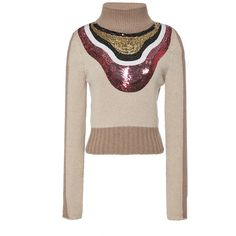 Giambattista Valli Sequin Yoke Two Tone Turtleneck ($1,260) ❤ liked on Polyvore featuring tops, sweaters, beige pullover sweater, turtle neck sweater, polo neck sweater, pullover sweater and wool pullover