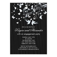 Beautiful modern love birds engagement party invitation featuring a pair of popular love birds with a heart and a stylish chic tree branch adorned with butterflies set on a classy black & white pin stripe background.  Visit our shop for matching thank you note cards, stickers & postage stamps.