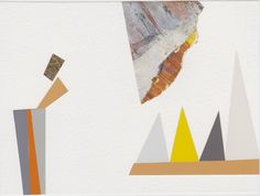 Geology II  - found papers, acrylic, gold leaf - on watercolour paper  - 11cm x 15cm - Annie Brundrit