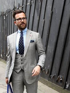 London Collections: Men Street Style - The Jigsaw Blog, Dan Rookwood, Style Director of Men's Health UK in grey suit with polka dot tie and pocket square
