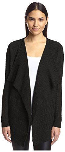 Special Offer: $22.38 amazon.com Soft cableknit cardigan with draped open-front, long sleeves and comfortable knit constructionSmallBlackDry clean90% Wool/10% Cashmere