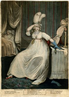 Laurie & Whittle (publ), 1797, Dissipation or the Groundwork of Jealousy,   A fashionably-dressed young woman sitting at her dressing table, one hand at her brow, preparing to undress, with a man sleeping in the background to left.