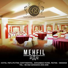 An exquisitely contemporary designed banquet venue with carpeted floors and pillars covered in beautiful veneer, Mehfil is the preferred choice high-level private and business events along with a specially designed food area. Call Us @ +91 612 2250204-06 #Hotels #Restaurants #Meetings #Events #BanquetVenue #Business