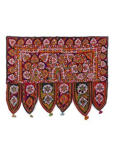 Buy Mustard Maroon Ivory Pink Hand embroidered Vintage Cotton Toran with Mirror Work Mirrors Art Finds Traditions torans sequins Online at Jaypore.com