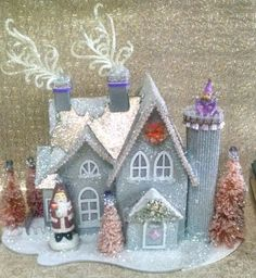 RESERVED custom order for Amy - Silver Purple and Coral Colored Putz House with Bottle Brush Trees and Vintage Snowman by laughterandlemondrop on Etsy