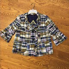 JCrew Cropped plaid jacket Cute little jacket. Unlined. Great condition. J. Crew Jackets & Coats