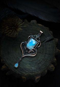 wedding necklace moonstone pendant copper pendant wire от WireAjur