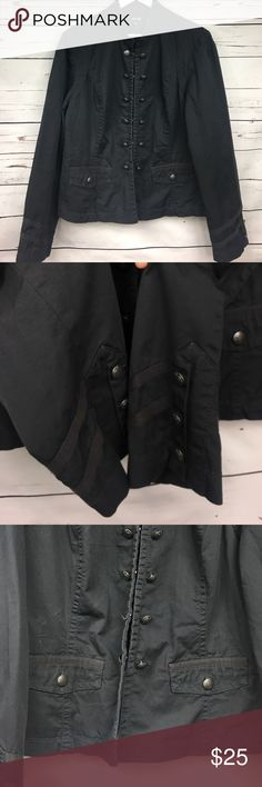 APT. 9 Military Style Jacket XL This jacket has so much detail! The buttons are adorable, the maroon fabric on the sleeves adds more detail and the front pockets add character. The jacket is missing the last clap on the bottom (see pictures) other than that, it's in good condition Apt. 9 Jackets & Coats
