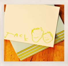 Letterpress stationary made from your child's art!  Too cool.  By Jigsaw Graphics.  $49 for 15 cards.