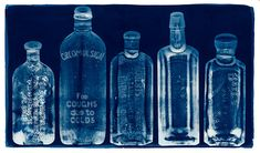 Cyanotype - photographic blueprint. Inspirational object choice. I will learn how to make an admirable cyanotype piece. Bottles have simple detail. #U4APSA