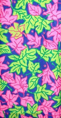 Lilly Pulitzer PINK GREEN Falling Leaves Corduroy