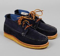 """TH-S & Co x Rancourt & CoChukka Moccasin, Navy Suede and Indigo """"Sashiko"""" Fabric  - Double-faced plain weave cloth with supplementary """"Sashiko stitch"""" warp simulates traditional Japanese hand-stitched textiles - This thick, heavy cloth is used in Japanese martial arts uniforms, as it provides some level of padding during sparring matches - Fabric panels provide ventilation during hot weather  - Hand stitched moccasin toe - Crepe wedge sole - """"Littleway"""" sole construction allows for full resoling, extending the life of the shoes"""