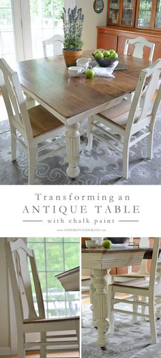 Transforming an Antique Dining Table and Chairs using white chalk paint.