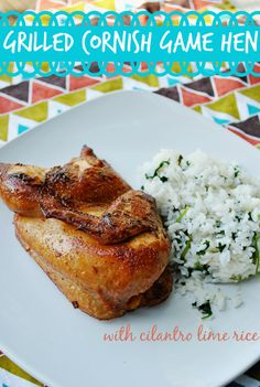 Grilled Cornish Game Hen Recipe With Cilantro Lime Rice _ We seasoned the game hens with Kikkoman Soy Sauce, light tasting olive oil, lime juice, sriracha, and red pepper flakes.