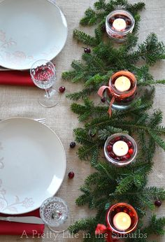 A simple Christmas table setting.