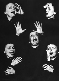 """life:  So, what exactly is Edith Piaf doing in this photograph? In this shot by LIFEs Allan Grant, she is caught in a montage of expressions and gestures while singing during her performance at New York's Versailles nightclub, 1952. See more photos here.  """