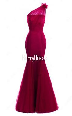 Burgundy Trumpet Mermaid Tulle Floor Length Ruffles One Shoulder Long Prom Dress
