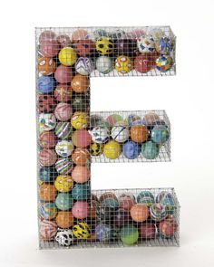 Mesh Cartesian Letter Filled with Bouncy Balls These letters could be filled with so many little collections! Ball Storage, Toy Storage, Hot Wheels Bedroom, Special Letters, Bouncy Ball, Nursery Decor Boy, Bedroom Wall Colors, Displaying Collections, Baby Girl Gifts