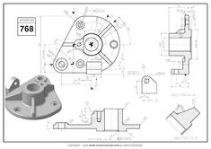 Mechanical Engineering Design, Mechanical Design, Autocad 3d Modeling, Autocad Isometric Drawing, 3d Drawings, Technical Drawings, Drawing Practice, Designs To Draw, Planer