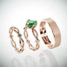 14K Rose Gold Eternity Wedding Rings Set with Natural Emerald