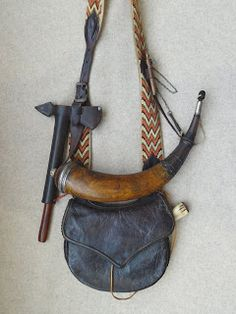 Contemporary Makers: Hunting Pouch and Powder Horn by Gary Birch Leather Craft, Leather Bag, Shooting Bags, Longhunter, Powder Horn, Antler Art, Long Rifle, Fur Trade, Wicca