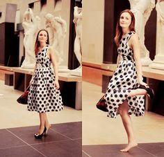 Blair in Bensoni dotted dress and Roger Vivier shoes